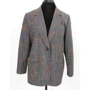 Vintage Gray Blazer Rainbow Threading Detail